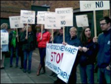 Protesters at Newmarket housing meeting