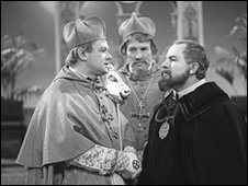 Galileo faces the cardinals of the Congregation (scene from 1964 BBC production of Bertolt Brecht's play, The Life of Galileo)