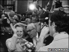 The newly-elected Prime Mininster Margaret Thatcher surrounded by reporters outside Downing Street