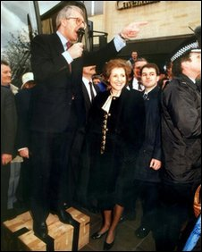 John Major addresses the crowd on a soapbox during the 1992 election