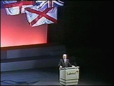 Labour leader Neil Kinnock at the 1992 election rally
