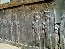 Wall reliefs at the site of Persepolis, the ancient capital of Persia, now Iran