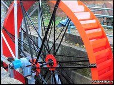 The new waterwheel added to a 19th Century wheel housing at Greenfield