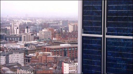solar panel on the CIS Tower in Manchester