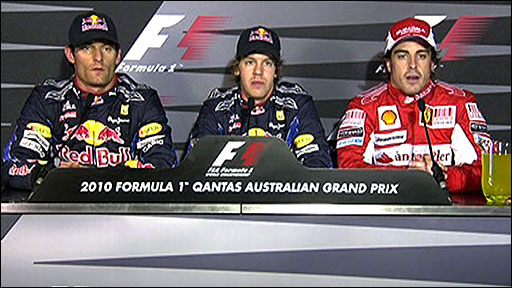 Australian GP qualifying top three
