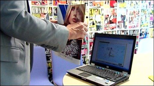 Magazine and laptop