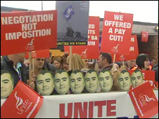 Strikers at Heathrow on 27 March 2010