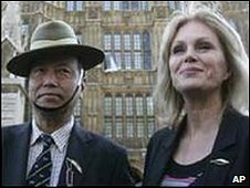 A Gurkha war veteran alongside Joanna Lumley
