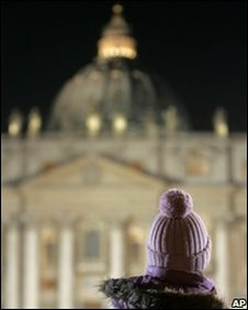 A child stands at a rally in St Peter's Square, the Vatican, March 2010