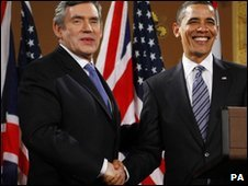 Gordon Brown and Barack Obama (file pic: Feb 2009)