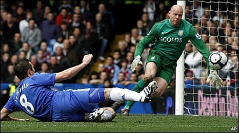 Frank Lampard scores for Chelsea past Aston Villa keeper Brad Friedel