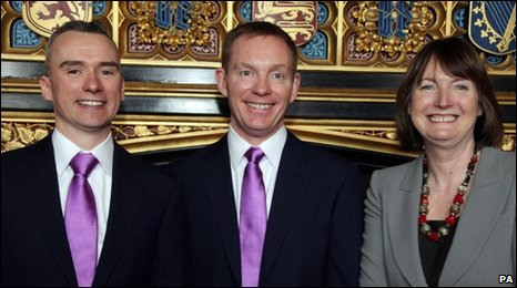 Rhondda MP Chris Bryant (centre) with partner Jared Cranney and Labour deputy leader Harriet Harman