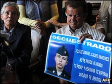 Relatives and supporters of Josue Daniel Calvo