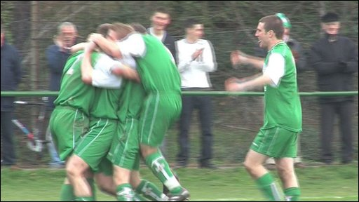 Guernsey footballers celebrate