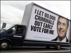 Conservative poster on side of lorry