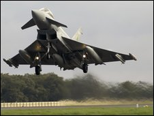 Typhoon scrambled. Picture supplied by the Ministry of Defence