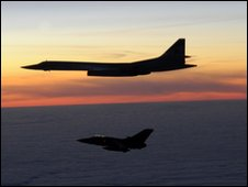 A Russian TU-160 Blackjack aircraft, above, escorted by a Tornado F3, says MoD, picture supplier