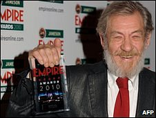 British actor Sir Ian McKellen poses with the Icon award during the 2010 Empire Film Awards 