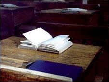 Book on desk