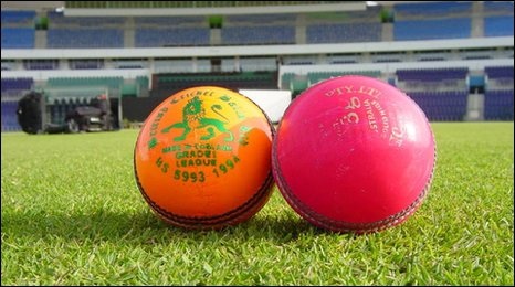 The coloured cricket balls for use in the MCC game against Durham