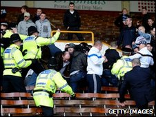 Police and supporters at Turf Moor