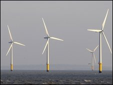 Offshore wind turbines near  the mouth of the Mersey near Liverpool