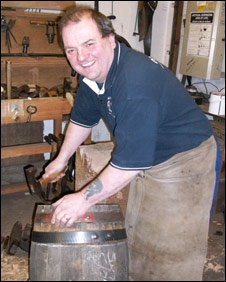 Alastair Simms making a barrel