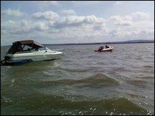 Sheerness Inshore Lifeboat towns a motor-cruiser