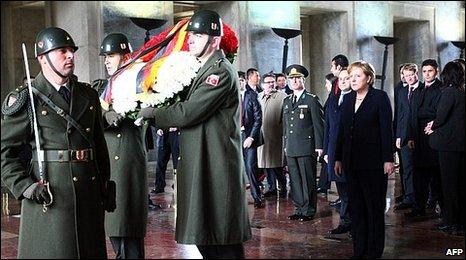 German Chancellor Angela Merkel attends a wreath-laying ceremony at the mausoleum of Mustafa Kemal Ataturk