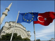 Flags of Turkey and the European Union are seen in front of a mosque in Istanbul, Turkey (file picture)