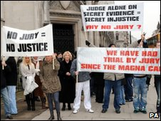 Demonstrators outside court at start of the case, January 2010.