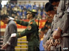 Prisoners at a sentencing rally in Wenzhou, China (April 2004)