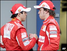 Fernando Alonso (right) with Ferrari team-mate Felipe Massa