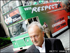 George Galloway in front of Respect bus