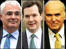 Alistair Darling, George Osborne and Vince Cable