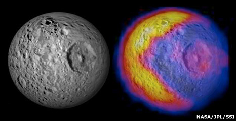 Mimas and temperature map (Nasa)