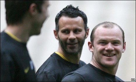 Michael Carrick, Ryan Giggs and Wayne Rooney