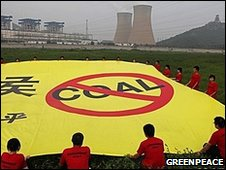 Greenpeace protest, Beijing, by Jon Novis