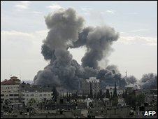 Smoke rises over Gaza City after the Israeli missile attacks