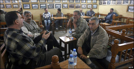 Iraqi men at a Baghdad cafe
