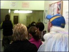 A queue at the credit union in Barnsley