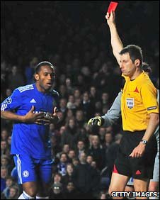 Didier Drogba is sent off