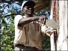 A builder working on house in Haiti
