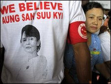 NLD supporter wear a T-shirt with Aung San Suu Kyi's picture on 29 March 2010