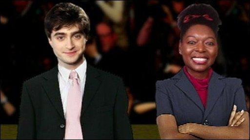 Daniel Radcliffe and Floella Benjamin