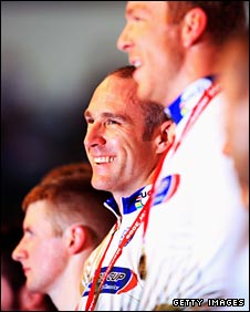 Jason Kenny, Jamie Staff and Chris Hoy stand atop the podium