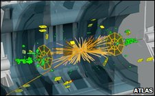 Image of a particle beam collision inside the LHC