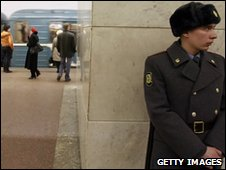 A policeman on guard at Moscow's metro