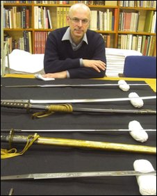 Timothy Clark with samurai swords