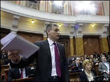 Deputies debate a draft resolution in Belgrade